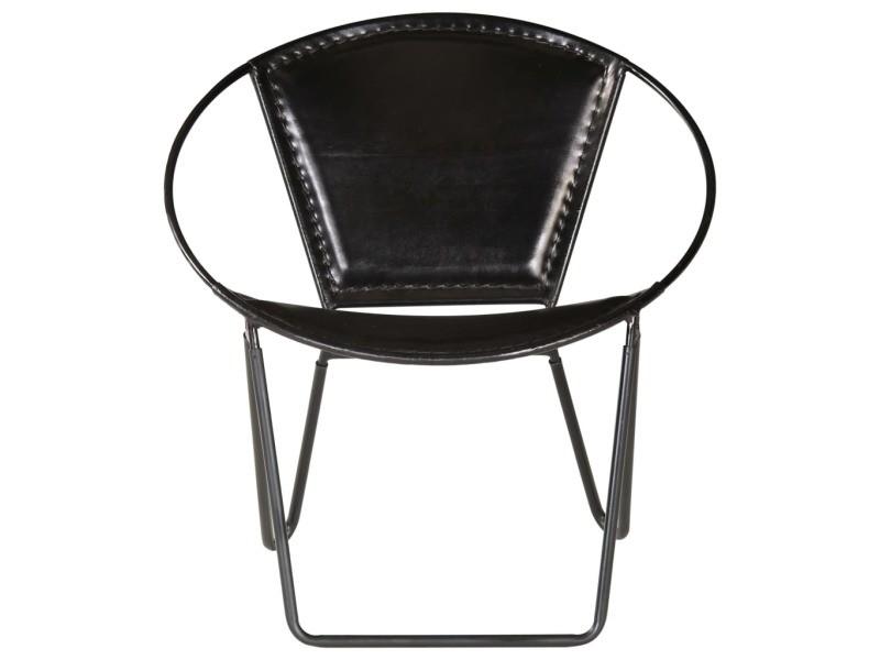 Icaverne - fauteuils club, fauteuils inclinables et chauffeuses lits edition chaise de relaxation cuir véritable 69 x 69 x 69 cm noir
