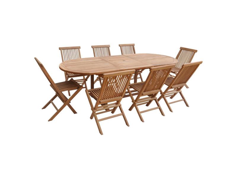 Salon de jardin en teck lombok - table ovale extensible - 8 places