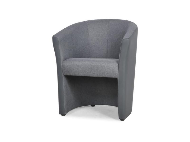 Nino fauteuil cabriolet en simili anthracite et tissu gris - l 65 x p 59 x h 75 cm
