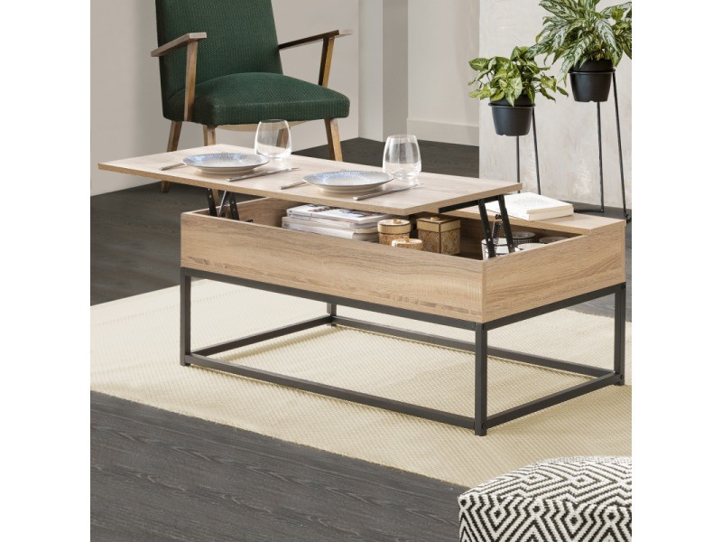 Table Basse Plateau Relevable Detroit Design Industriel Vente De