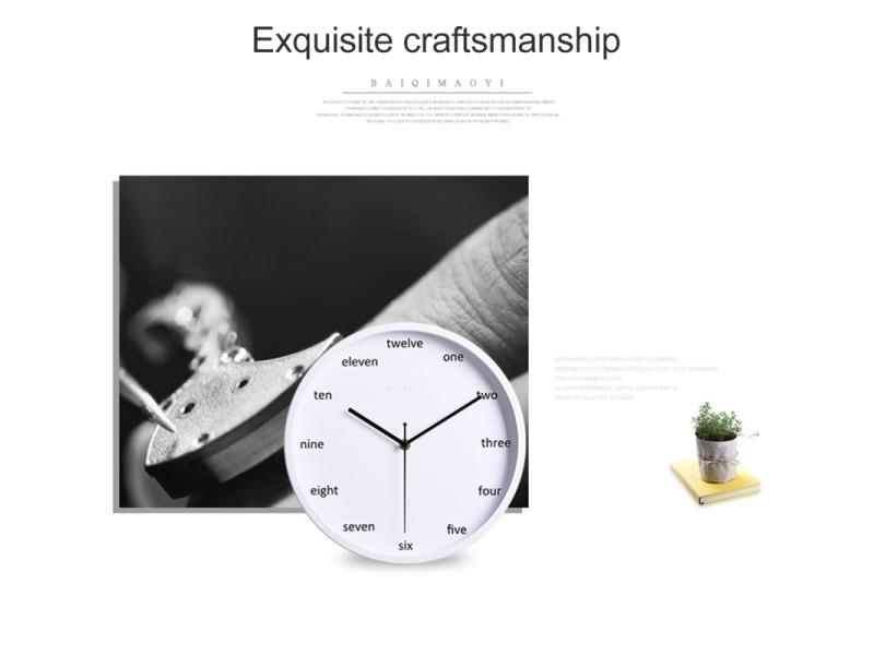 Horloge murale noir bureau à la maison chambre numéro anglais