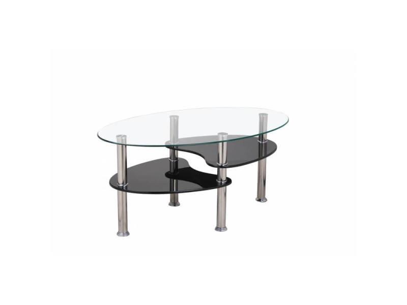 Table basse design ovale en verre/mdf noir konie