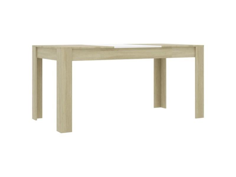 Vidaxl table à dîner blanc et chêne sonoma 160x80x76 cm aggloméré 801297