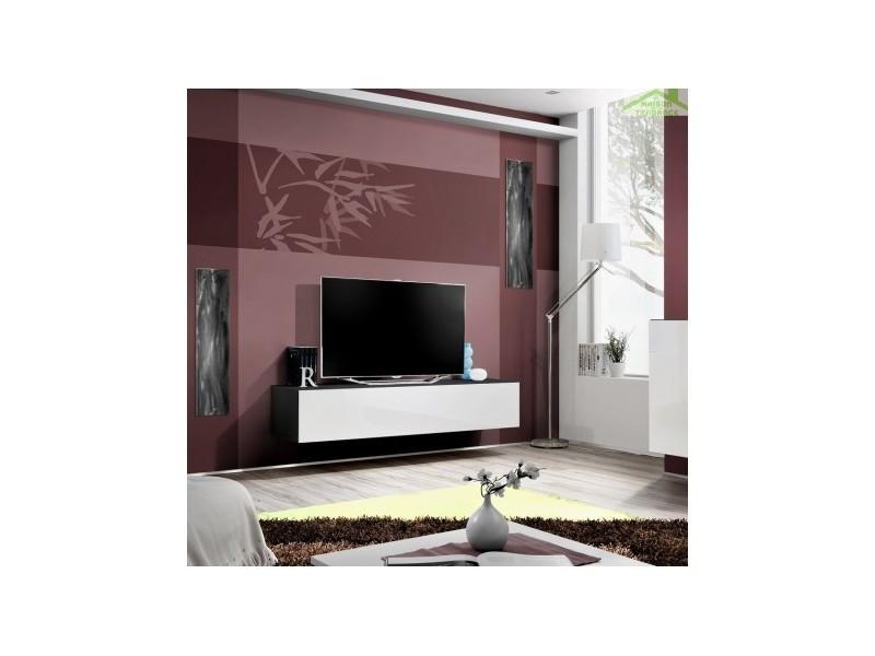 Grand meuble tv fly à suspendre 160x30x40cm - corps noir mat/ front blanc de haute brillance 23 ZW FY 30