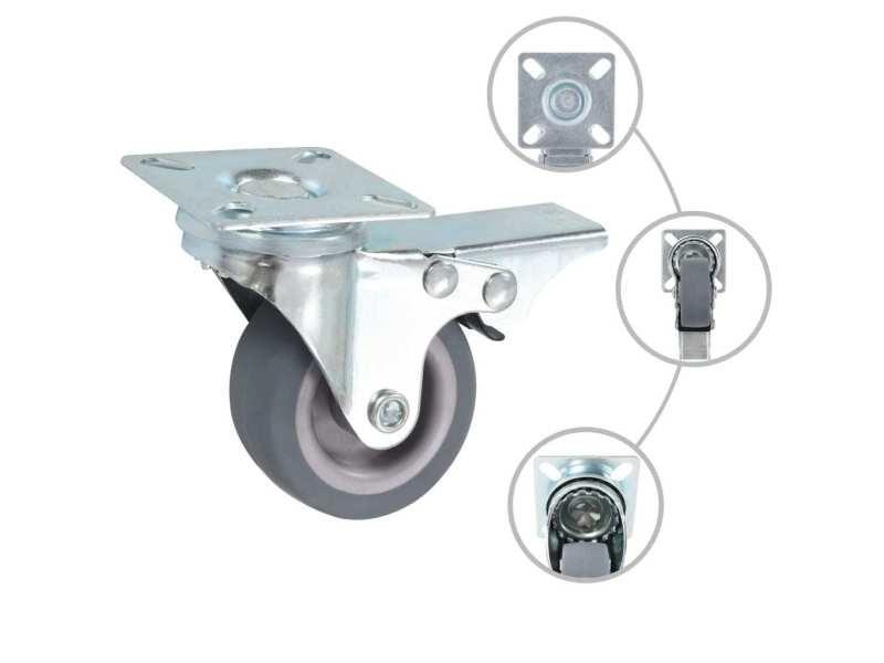 Icaverne - manutention de matériaux ensemble 8 pcs roulettes pivotantes 50 mm