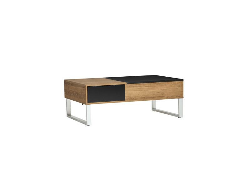 Table basse relevable bois/noir - pierre - l 110 x l 60 x h 37 - neuf