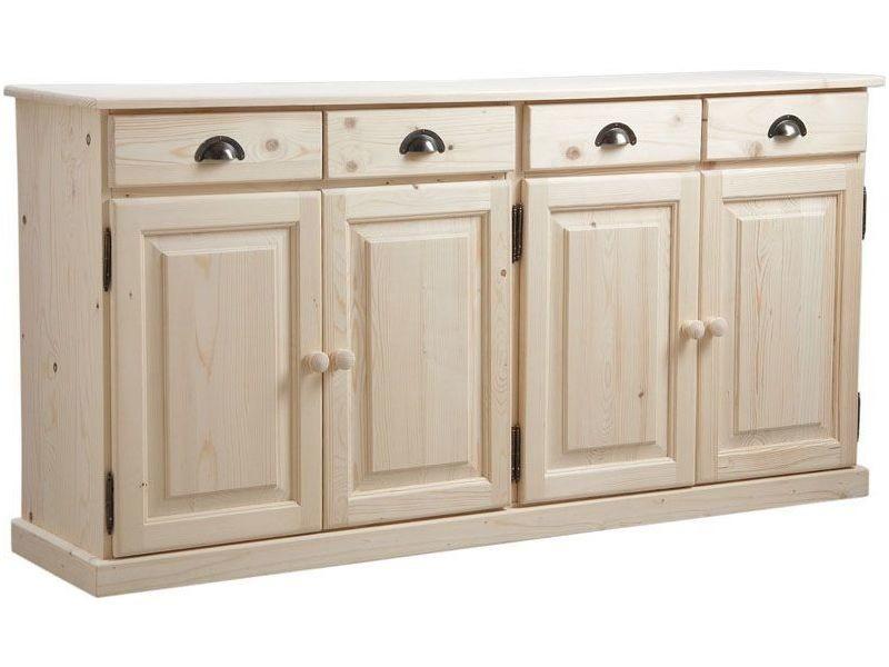 buffet en bois brut 4 portes 4 tiroirs 165x40x83cm vente de aubry gaspard conforama. Black Bedroom Furniture Sets. Home Design Ideas