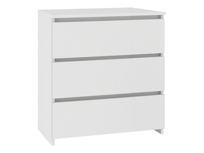 Shala - table de chevet contemporaine chambre 60x57x35 cm - 3 tiroirs larges + chants abs - chiffonier - design moderne - blanc
