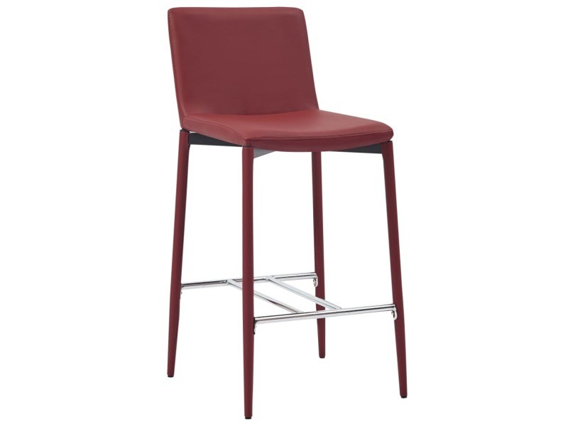 Vidaxl chaises de bar 2 pcs rouge bordeaux similicuir