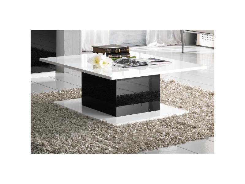 Table basse rectangulaire blanc/noir laqué - zeme - l 110 x l 60 x h 43 cm