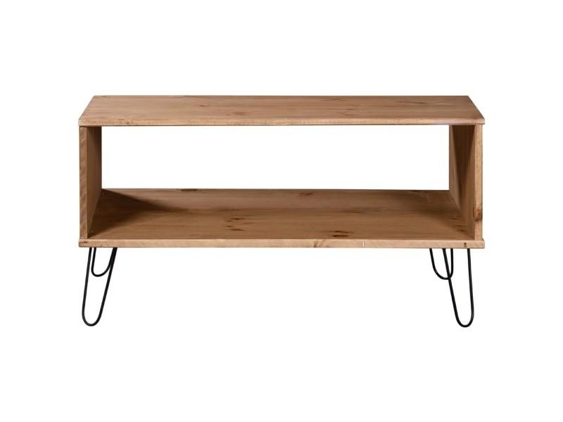 Vidaxl table basse new york range bois clair bois de pin massif 321148