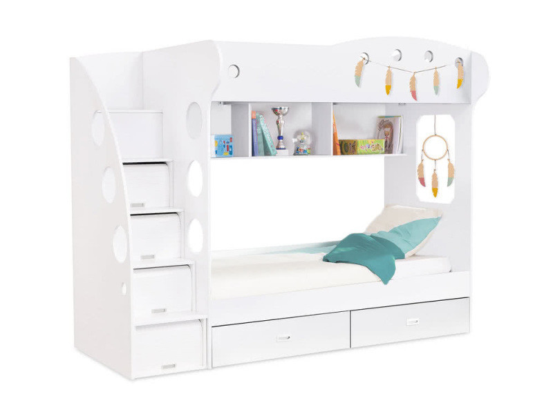 lit superpos avec rangements 90x190 combal blanc vente de lit adulte conforama. Black Bedroom Furniture Sets. Home Design Ideas