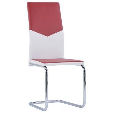 Vidaxl chaises à dîner cantilever 2 pcs rouge bordeaux