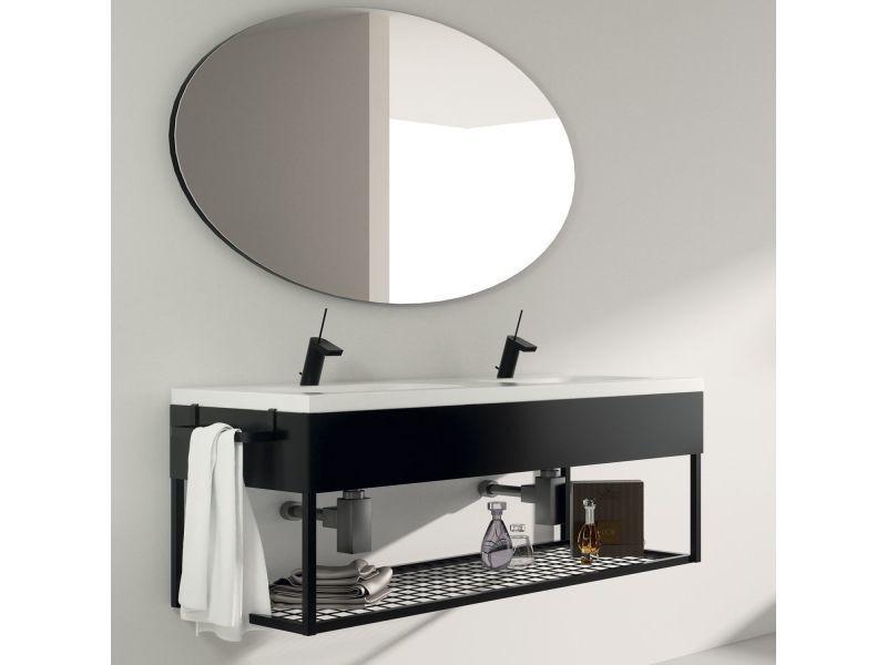 Meuble salle de bain suspendu 120 cm double vasque - Meuble vasque salle de bain conforama ...