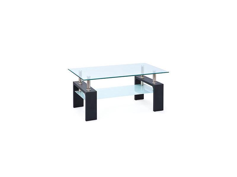 Table basse double plateaux en verre noir - kimmy