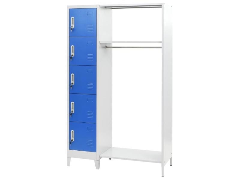 Contemporain armoires et meubles de rangement serie tripoli vestiaire avec porte-manteau métal 110x50x180 cm bleu et gris