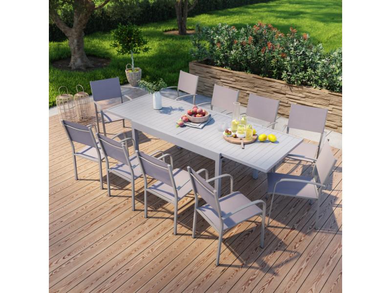 Table de jardin extensible en aluminium 270cm + 10 fauteuils empilables textilène gris taupe - milo 10