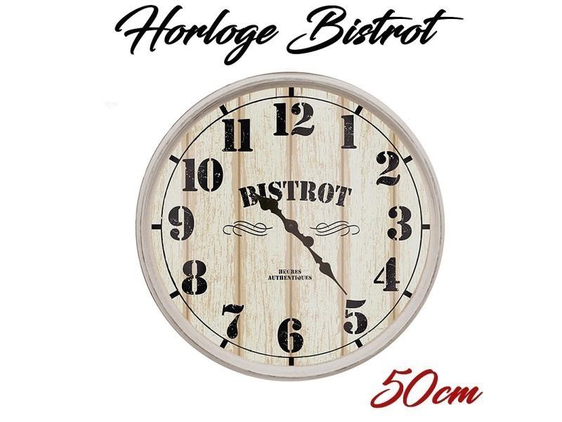 Horloge r tro style bistrot blanc 50cm vente de the concept factory conforama for Horloge murale style bistrot