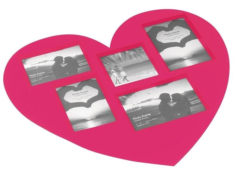 Set de table cadre photos coeur rose 45 x 41 cm