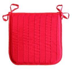 Coussin galette de chaise jacquard rayure rouge 40 x 40 cm