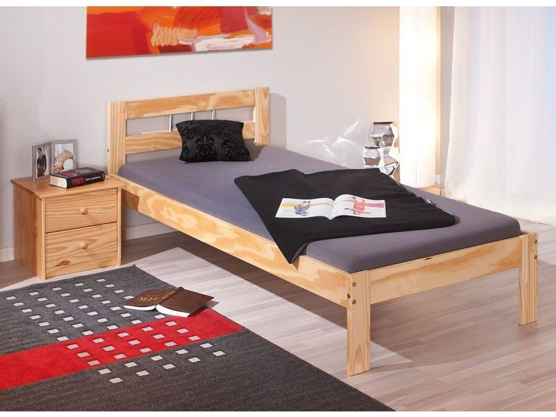 lit 1 place 90 x 190 cm en bois pin massif p 2346 co inna. Black Bedroom Furniture Sets. Home Design Ideas