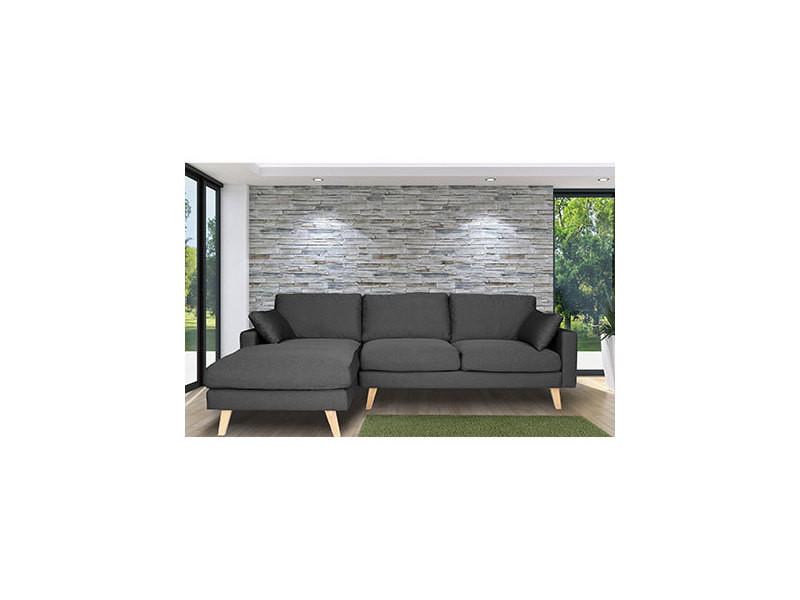 Canapé d'angle à gauche en tissu gris - alta