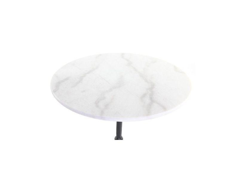 Table Bistrot En Marbre Blanc Et Métal Noir Conty Vente De