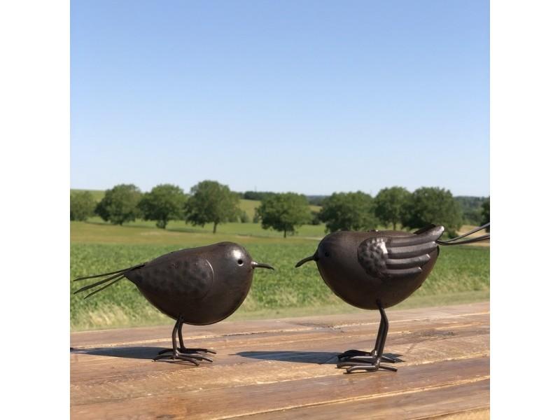 2 oiseaux de décoration oiseau d'intérieur ou de jardin 10 cm métal