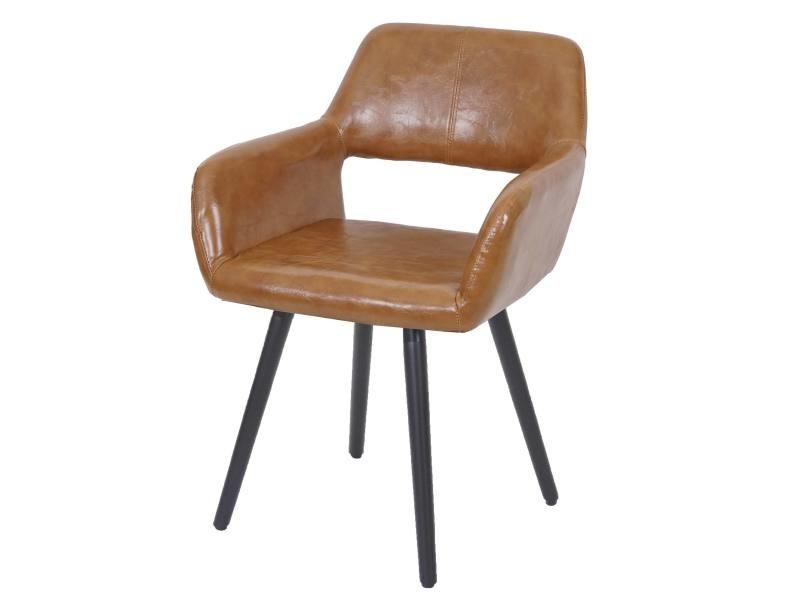 Chaise de salle à manger hwc-a50 ii, style rétro années 50 ~ similicuir, imitation daim, pieds foncés