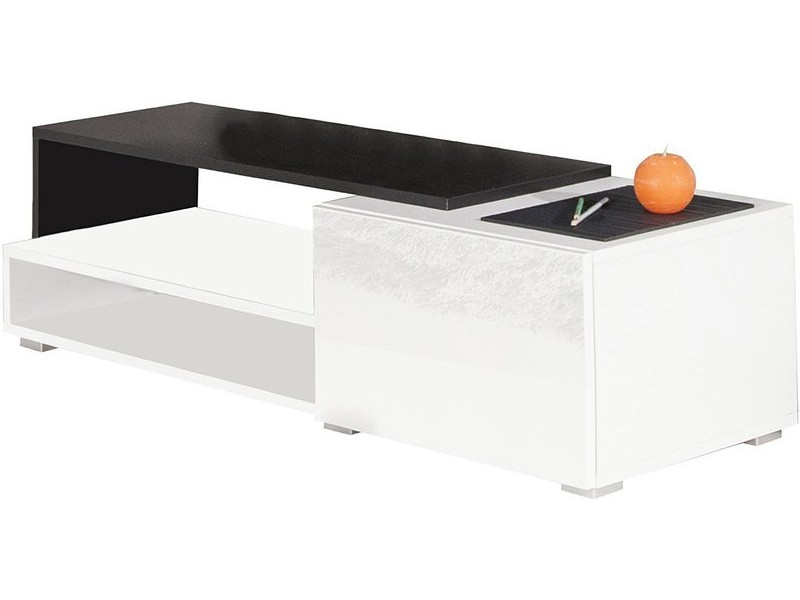 meuble tv logo 1 tiroir corps blanc et noir fa ade blanche laqu e brillante 120 cm 3254a0219l02. Black Bedroom Furniture Sets. Home Design Ideas