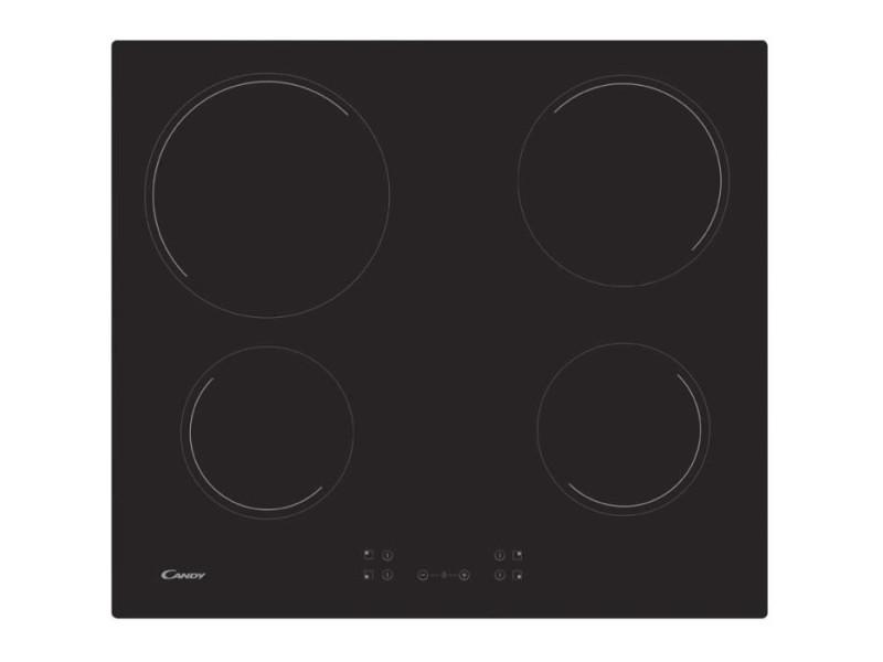 Candy ch64ccb - table de cuisson vitrocéramique - 4 zones - 6500 w - l 56 x p 49 cm - revetement verre - noir