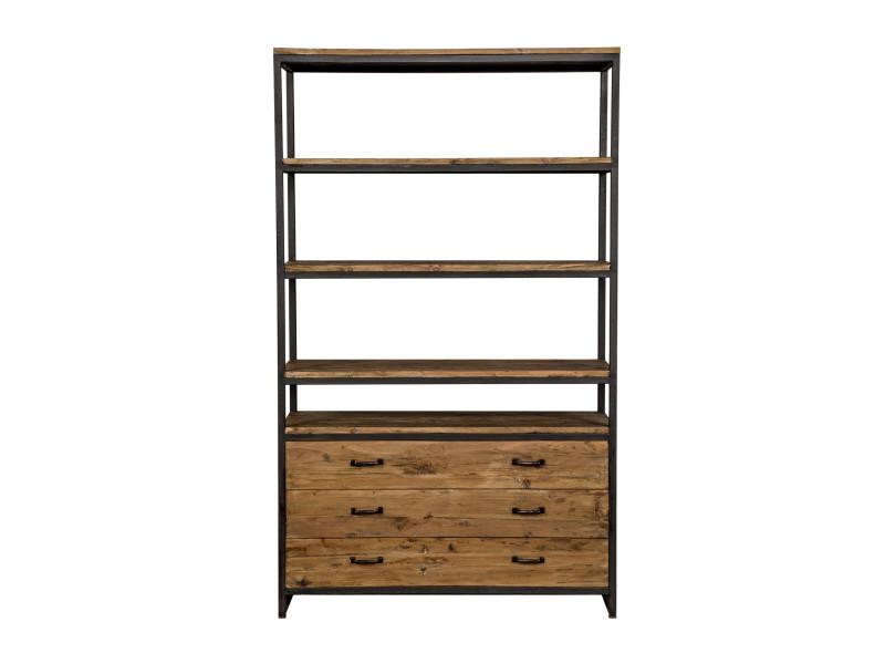 bibliothèque paname en bois et métal à tiroirs - vente de buffet