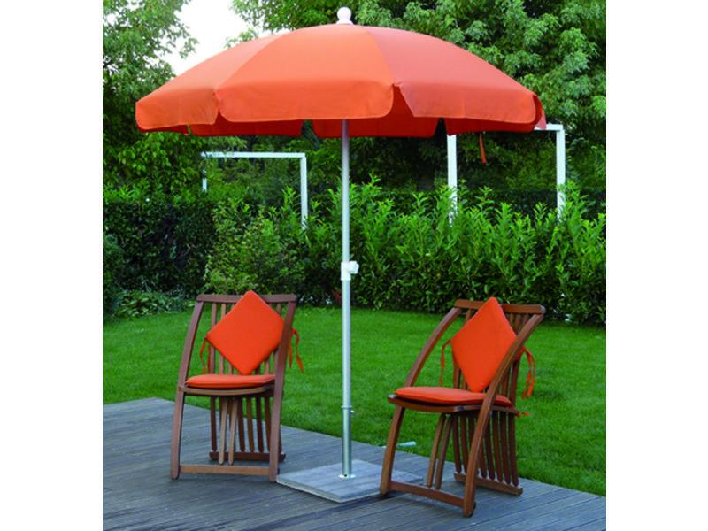 Parasol rond centré coloris orange - dim : h 230 x d 200/8 cm -pegane-