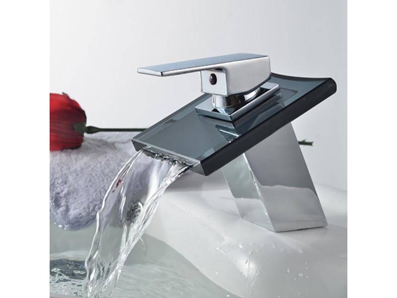Robinet de lavabo mitigeur cascade en verre noir avec flexible ...