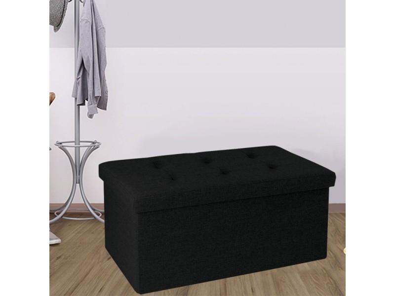 banc coffre rangement tissu noir 76x38x38cm pliable vente de id market conforama. Black Bedroom Furniture Sets. Home Design Ideas