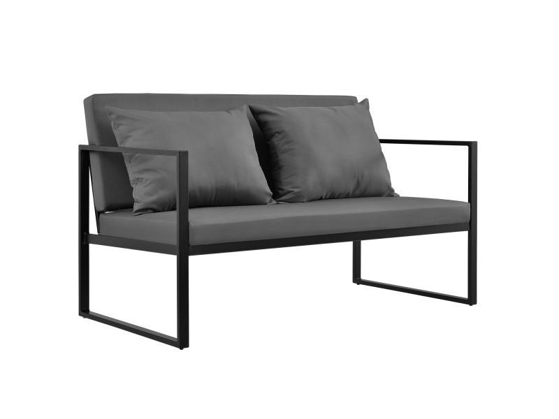 [casa.pro] canapé extérieure avec coussins armature métal 70 x 114 x 60 cm noir