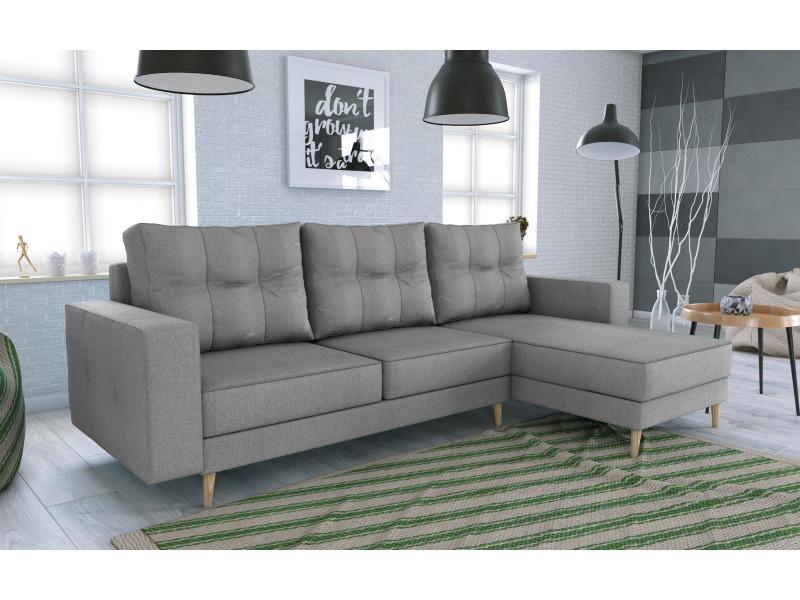Canapé d'angle convertible holia gris clair style scandinave pied en bois