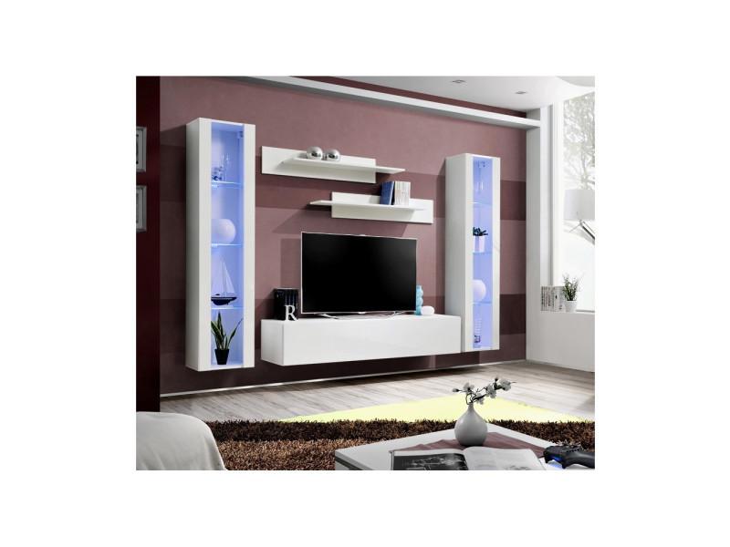 Ensemble meuble tv mural - fly ii- 260 cm x 190 cm x 40 cm - blanc