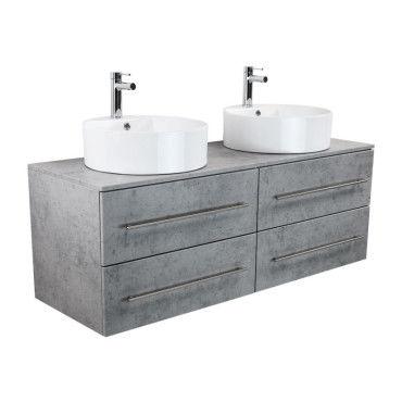 Meuble salle de bain double vasque novum xl aspect b ton - Meuble vasque salle de bain conforama ...