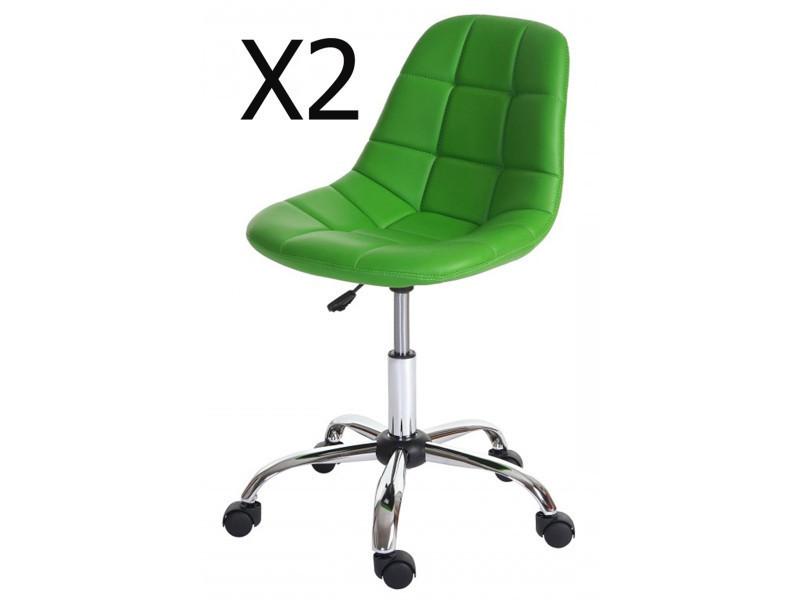 Lot de 2 chaises de bureau coloris vert en polyuréthane - dim : h 80-92 x l 62 x p 54 cm -pegane-