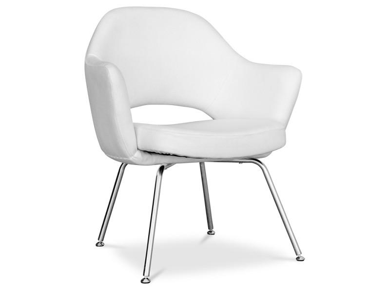 Chaise Executive Style Eero Saarinen Tissu Blanc Vente De Non