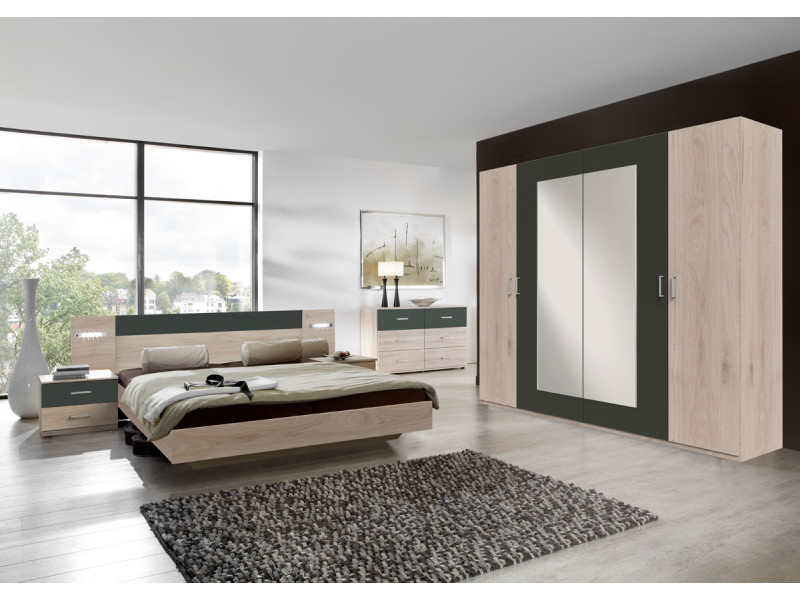 Ensemble chambre adulte lit avec éclairage, imitation chêne hickory rechampis graphite - 180 x 200 cm -pegane-