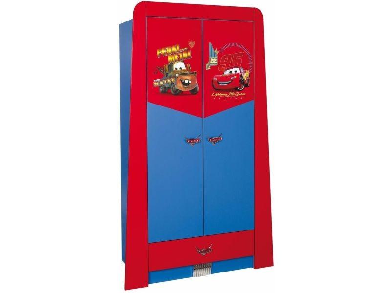 Armoire Enfant à 2 Portes + 1 Tiroir Design Cars Disney Coloris Rouge Et  Bleu P 17224 Co