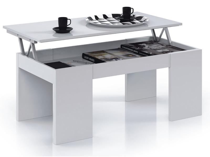 table basse à plateau relevable coloris blanc brillant