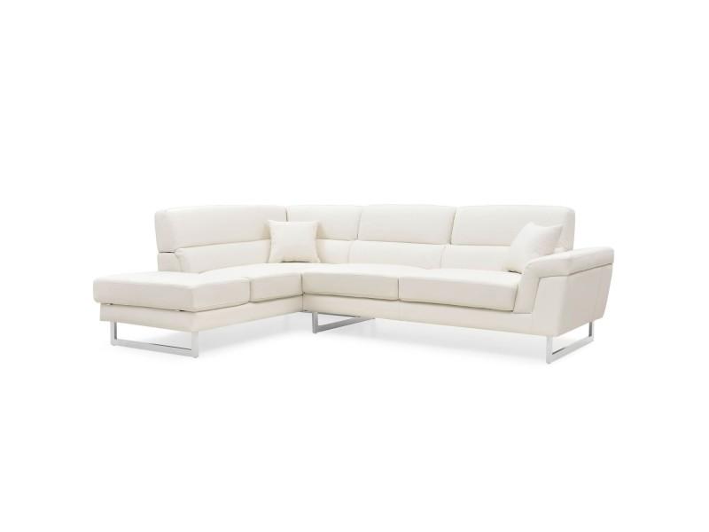 Canapé d'angle à gauche tolbiac simili blanc