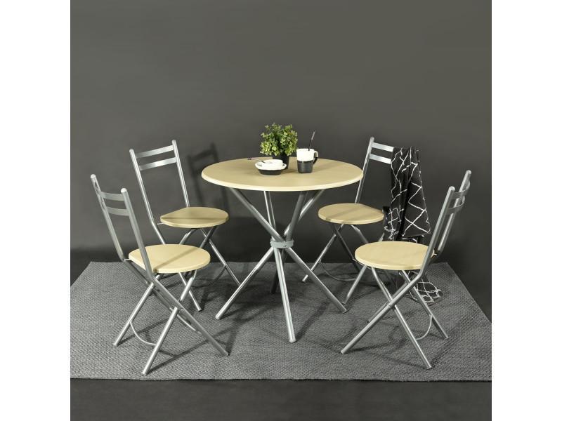Ensemble salle à manger table ronde 80cm 4 chaises pliantes hêtre ...