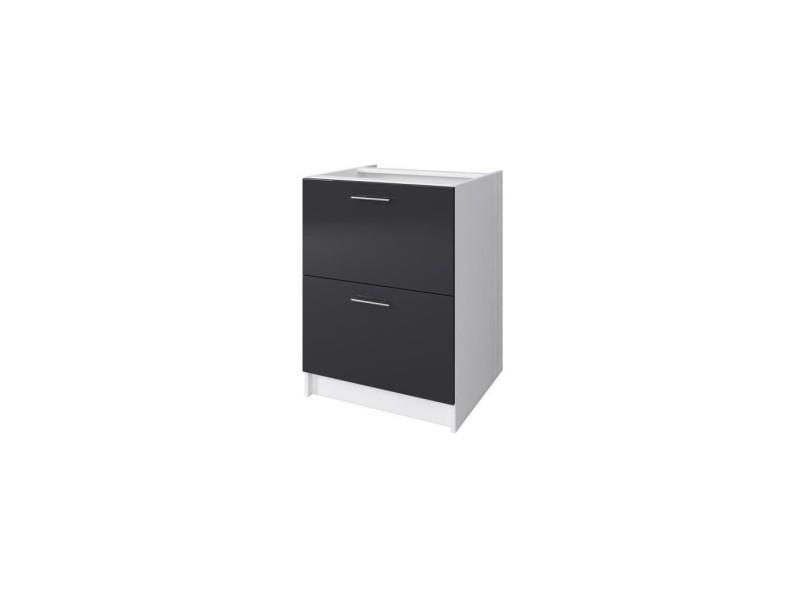 Obi meuble bas casserolier avec 2 tiroirs l 60 cm - blanc et gris laqué brillant