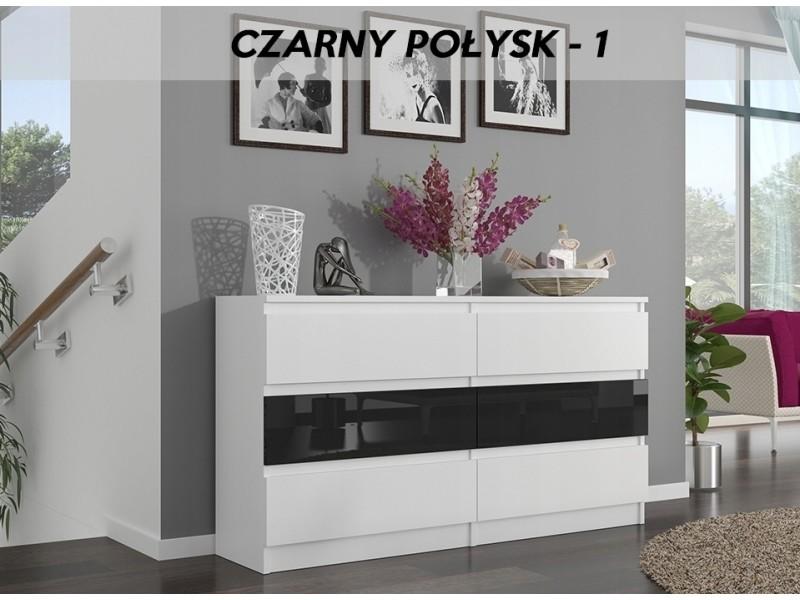 Munich w1 | commode contemporaine chambre salon bureau | 140x77x30 | dressing 6 tiroirs | meuble de rangement scandinave | blanc/noir laqué