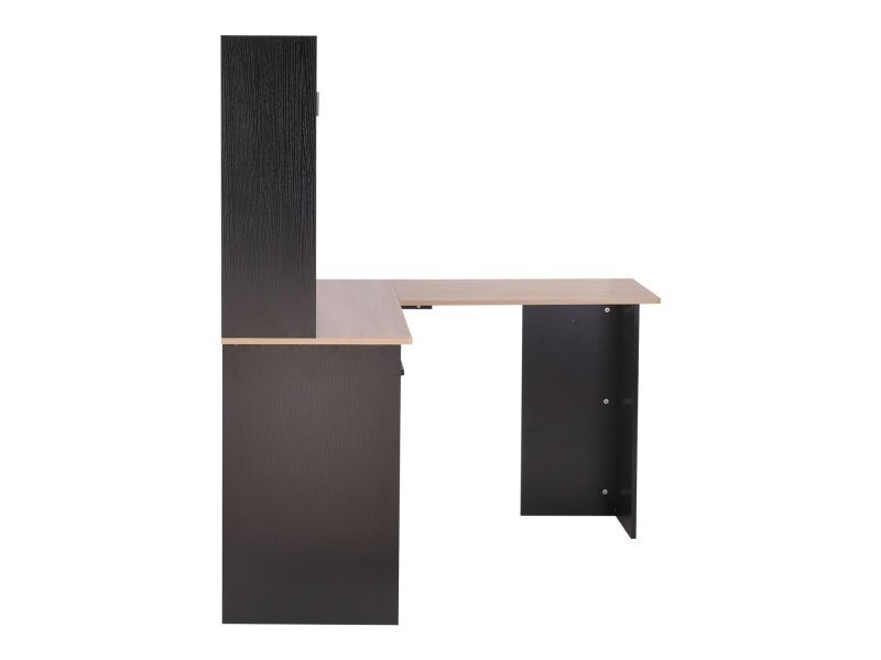 bureau informatique bureau d 39 angle multi rangements avec tag re bicolore noir ch ne clair. Black Bedroom Furniture Sets. Home Design Ideas