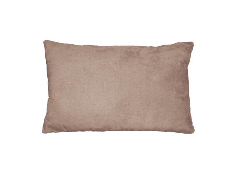 Coussin suede uni suedine sable 30 x 50 cm
